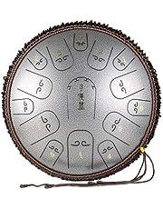 XIAOSHI スリットドラム 金属ドラム 15トーン14インチ スチールドラム さまざまな最新カラー ヨガの瞑想 音楽療法 癒し 疲労療 説明書&楽譜/マレット/指カバー/トートバッグが付属 (銀)