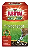 Substral Rasensamen Die Nachsaat, Nachsaatrasen, Rasensaat, Schnell keimende strapazierfähige Rasenreparatur-Mischung mit Grünfärbung gegen Vogelfraß, 2 kg für 100 m²