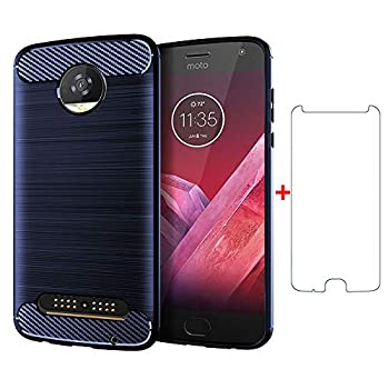Phone Case for Motorola Moto Z2 Play with Tempered Glass Screen Protector Cover and Silicone Slim Thin Full Body Protective Cell Accessories Motorcycle Z2Play Z Force Droid 2017 2nd Gen Cases Blue