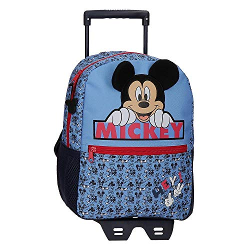 Disney Mickey Moods Backpack with Trolley Red 25x32x12 cm Polyester 9.6 Litre