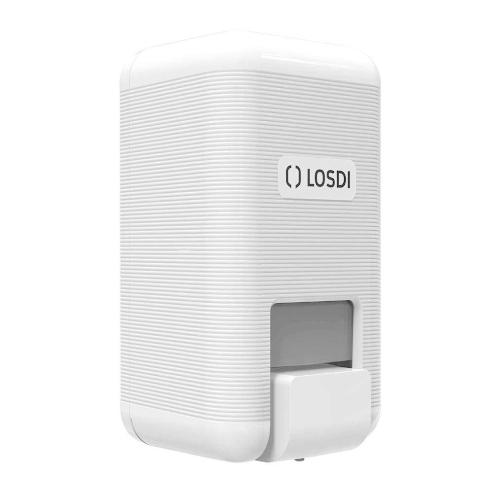 Dispensador de jabón líquido de Losdi línea Eco-Luxe en blanco ABS. Con capacidad de 900 ml - 1 litro de jabón líquido y válvula antigoteo