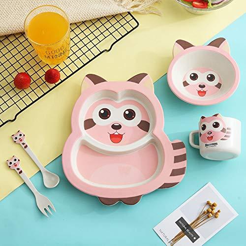 5pcs / sets Juego de cena de fibra de bambú para bebé Juego de vajilla de dibujos animados lindo Niños que alimentan tenedores y cucharas de platos Platos portátiles para-Pink