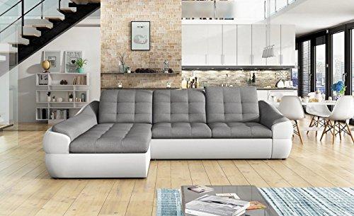 Ecksofa Infinity Mini mit Schlaffunktion Sofa Couch Schlafsofa Polsterecke Bettfunktion (ottomane Links, Kunstleder weiß/Stoff INARI 91)