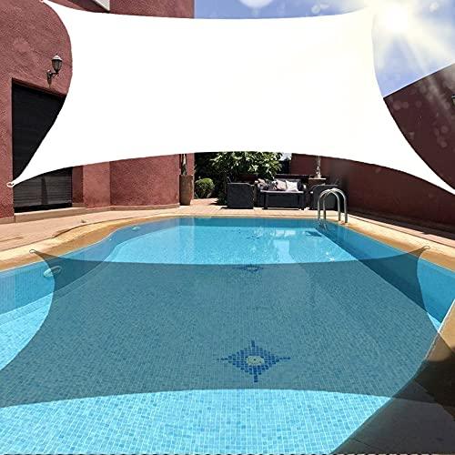 Toldo de vela rectangular 95% de bloqueo UV toldo de vela de protección solar resistente toldo de bloque UV Toldo de bloque UV con kit de herrajes para cochera de patio al aire libre bla