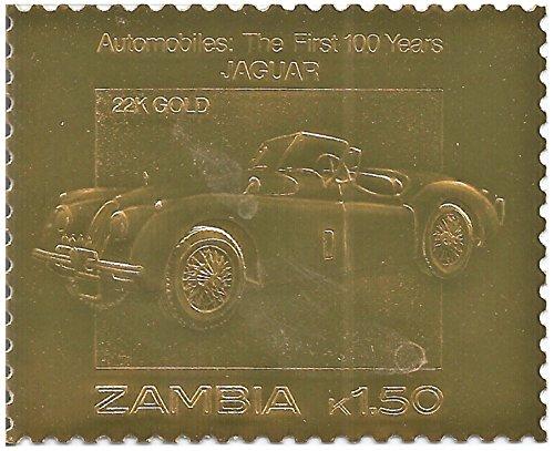 Oro 22 carati Foil francobollo commemorativo dei primi 100 anni di Automobiles - Jaguar/Zambia