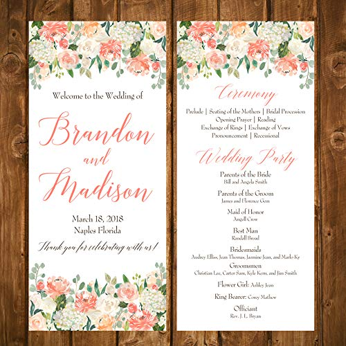 Wedding Program Peaches and Cream Collection with ANY Wording Printed