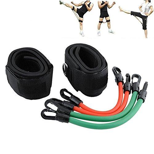 Grofitness 6-teiliges Set mit Fitness-Zubehör, widerständiges Latex-Band für Beine/Oberschenkel, starke Knöchelriemen, geeignet für Fitnessstudio, Yoga, Pilates