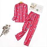 XFLOWR Pijamas Mujeres Kawaii Pijamas de Dibujos Animados 100% Algodón Cepillado Mujer Lindo Traje de Noche Ropa de Dormir de Manga Larga M PH-002