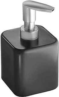 mDesign Compact Square Metal Refillable Liquid Soap Dispenser Pump Bottle for Bathroom Vanity Countertop, Kitchen Sink - Holds Hand Soap, Dish Soap, Hand Sanitizer, Essential Oil - Black/Brushed