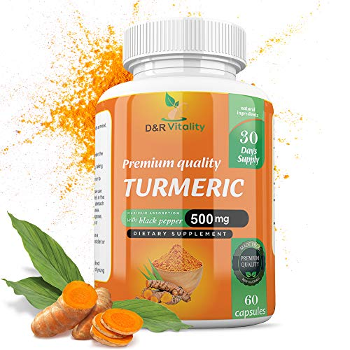 Turmeric Capsules Tumeric Supplements with Black Pepper 500 mg 60 Capsules