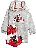 adidas I Dress Set, Top:Medium Grey Heather/Vivid Bottom:Wonder White F21/VIVID Red S21/BLACK, 2-3A Baby-Girls