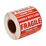 SJPACK 500 Fragile Stickers 1 Roll 2' x 3' Fragile - Handle with Care - Thank You Shipping Labels Stickers (500 Labels/Roll)