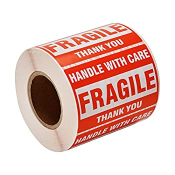 [1 Roll 500 Labels] 2  x 3  Fragile Stickers Handle with Care Warning Packing/Shipping Labels - Permanent Adhesive