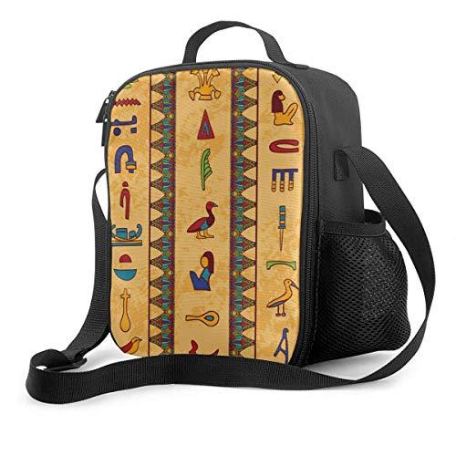 li Alte ägyptische Hieroglyphen Isolierte wiederverwendbare Lunch-Tasche Lebensmittelbehälter Tragbare Lunch-Tasche Verstellbarer Riemen für Schularbeiten Büro Reisen Angeln