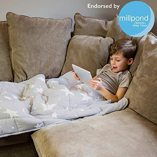Rest Easy Gewichtsdecke für Kinder   schwere Decke für Schlaf, Stressabbau, Angstlinderung & sensorisch beruhigende Decke für guten Schlaf   100% superweiches Baumwollmaterial, Graue Sterne, 3kg