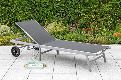 MERXX Gartenliege Florenz mit verstellbarem Rückenteil und Rollen 199cm, Gestell Aluminium Silber, Bezug Kunstgewebe schwarz, wetterfest