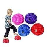 Pelota de pilates para masaje de pies para niños, equipo de entrenamiento de medio balón de masaje, balón de entrenamiento, pelota táctil, pelota de yoga, para adultos y niños (color al azar), 1 pieza
