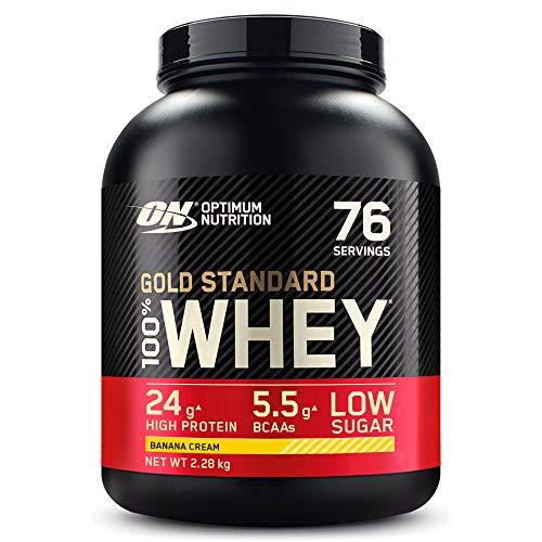 Optimum Nutrition Gold Standard 100% Whey Proteína en Polvo, Glutamina y Aminoácidos Naturales, BCAA, Crema de Plátano, 76 Porciones, 2.28kg, Embalaje Puede Variar