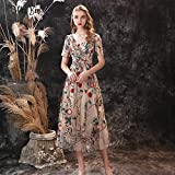 Short Sleeve Prom Dress 2021 New Tea Long V-neck Floral Embroidery Lace Evening Dress Party Ladies Elegant