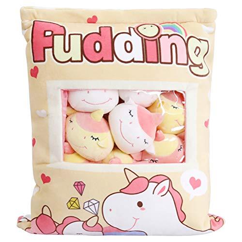 1 bolsa de felpa mini muñecas pudín juguetes de peluche bolsa de merienda almohada con 8 mini muñeco de peluche almohadas rellenas almohada de conejo kawaii decoración de dormitorio regalo, caballo