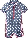 lupilu® Kinder Mädchen UV-Schutz-Anzug für Wasser und Strand (Einteiler - Taubenblau/Weiß/Rot gepunktet, Gr. 98/104)