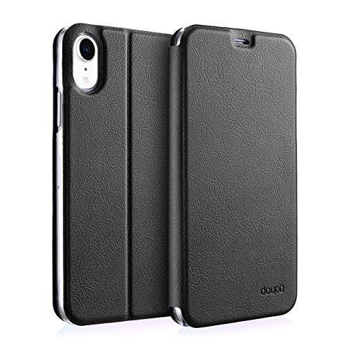 doupi Flip Hülle für iPhone XR (6,1 Zoll), Deluxe Schutz Hülle mit Magnetischem Verschluss Cover Klappbar Book Style Handyhülle Aufstellbar Ständer, schwarz