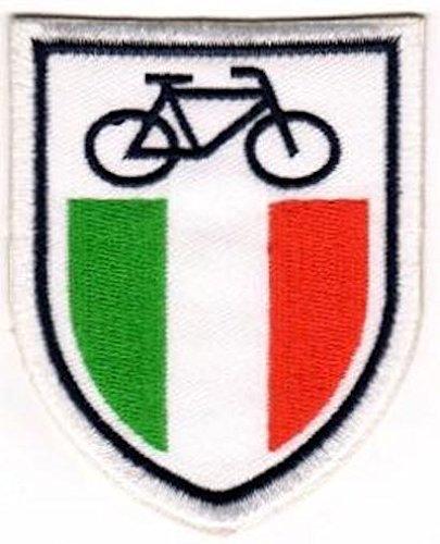 TOPPA RICAMATA TERMOADESIVA - STEMMA ITALIA CON BICICLETTA - CM 8x6,5