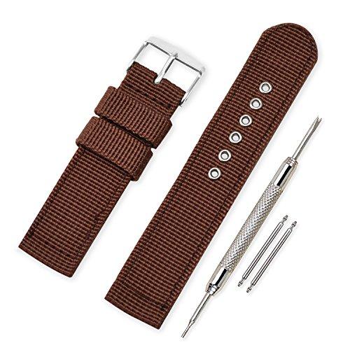 VINBANDUnisexMilitärNylonUhrenarmband mit Edelstahl Silberne Schnalle 22mm Braun