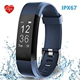 HolyHigh Smart Band with Fitness Tracker Heart Rate Monitor IPX67 Waterproof Call SMS Notifications for Men Women (Blue)