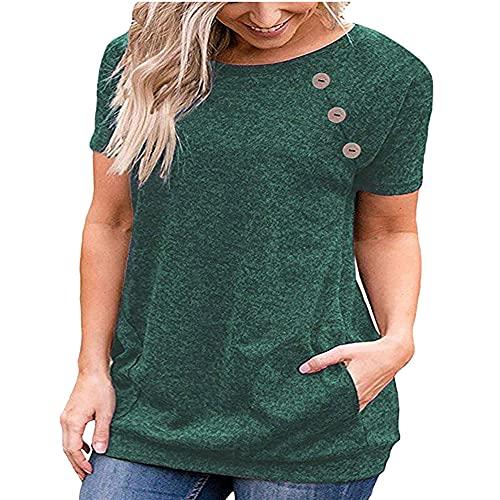 Mujeres Simple Casual Manga Corta Camisa con Botones Sueltos Color sólido Cuello Redondo Túnica Camiseta Top Señoras Manga Corta Top Señoras Pullover Color Puro Camisa Casual Sudadera