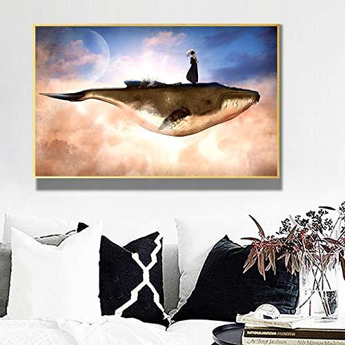 GJQFJBS Escena Surrealista Mujer y Ballena Animal Lienzo Pintura Pared imágenes artísticas para decoración de Sala de Estar de habitación de niños (sin Marco) A2 60x80CM