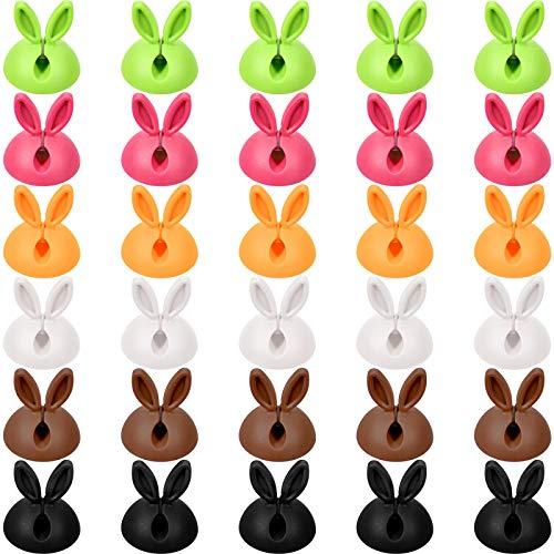 30 Piezas Organizador de Cable Soporte de Clip de Cable de Alambre Adhesivo de Escriturio Organizador de Cable de Oreja de Conejo para Organizar Cables para Hogar y Oficina, 6 Colores