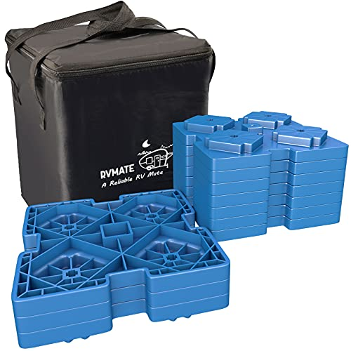 RVMATE RV Leveling Blocks, 10 Pack Interlocking Leveling Pads with Storage Bag, Thickened Edge Design, Heavy Duty