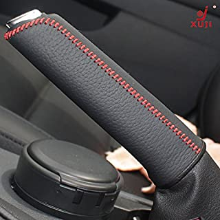 JI Black Genuine Leather Handbrake Cover for 2011 2012 2013 2014 2015 2016 Volkswagen VW Jetta / 2015 2016 Volkswagen VW Golf / 2012 2013 2014 2015 2016 Volkswagen VW Beetle / 2012-2016 VW Passat