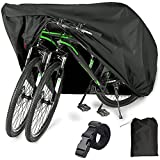 EUGO Bike Cover for 2 or 3 Bikes Outdoor Waterproof Bicycle Motorcycle Covers XL XXL Oxford Fabric Rain Sun UV Dust Wind Proof for Mountain Road Electric Bike (Black-210D-XL for 2 Bikes)
