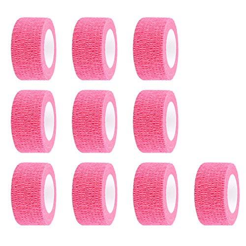 ESUPPORT 1 Inches X 5 Yards Pink Self Adherent Cohesive Wrap Bandages Adhesive Wounds Strong Elastic First Aid Tape for Sport Wrist Ankle 10 Count