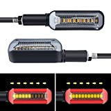 2PCS Motorcycle Turn Signal Red/Sequence Amber LED Indicator Light Daytime Running Lights DRL Switchback Glow for Motorcycle