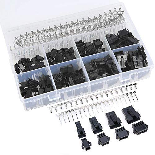 GTIWUNG 560 Stück 2.5mm JST-SM Steckverbinder Kit, 2,5mm Pitch 2 3 4 5 Pin JST SM Anschluss Männlich und Weiblich Stecker Gehäuse Adapter Sortiment Kit