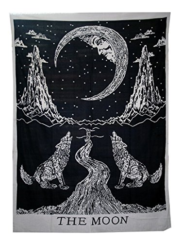 raajsee Crying Wolf and Moon Tarot Tapestry Wall Hanging, Indian Cotton Throw/Black and White Moon Tapestries Hippie Mandala, Boho Bedding Bohemian Bedspread, Yoga Mat Meditation Rugs 54x82 inches