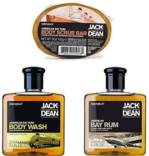 Jack Dean American Bay Rum Grooming Set Incluye Lavado Corporal, Cabello y Tónico Exfoliante Corporal Barra