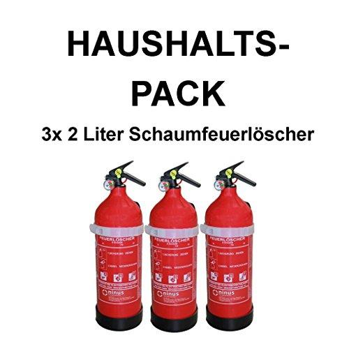 3X Fettbrandlöscher für den Haushalt ninux ABF Feuerlöscher Schaum 2 Liter mit Halterung und Manometer
