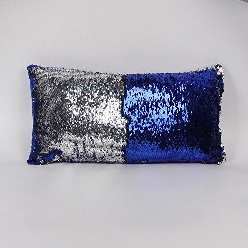 Inconnu Oreiller de Paillettes de Couleur de 3pcs, taie d'oreiller Longue et élégante de Voiture 30 * 60cm, Blue + Silver, 30 * 60cm