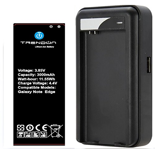 Galaxy Note EDGE NFC Battery, TrendON [1 NFC Battery + Charger] Samsung Galaxy Note EDGE (1X) 3000 mAh [Long Lasting] Spare Replacement Li-ion Battery Combo with Portable USB Travel Wall Charger (NFC Google Wallet / NFC tag capable) [18-Month Warranty] (For Samsung Galaxy Note EDGE Verizon, AT&T Sprint, T-mobile, Unlocked) (1 NFC Battery 1 Charger)