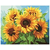 Paint by Numbers for Adults Beginner & Kids, Adult Paint by Number Kits DIY Oil Painting Kit on Canvas Art Craft for Home Decor Sunflower 16X20 Inch