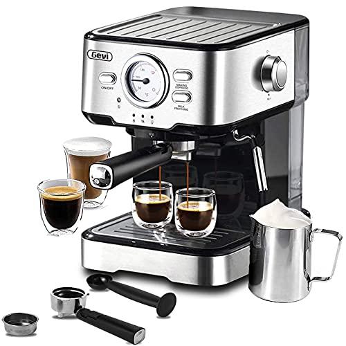 Espresso Machine 15 Bar Pump Pressure, Expresso Coffee Machine With Milk Frother Steam Wand, Espresso and Cappuccino Maker For Home Barista, 1100W, Black