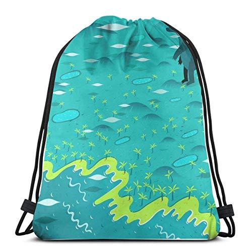 AOOEDM Mochila con cordón Big Bear On Beach Canvas Bulk Sackpack para hombres Mujeres String Sports Gym Bag