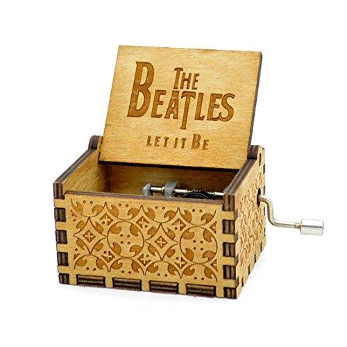 Meiion Antike Geschnitzte hölzerne Spieluhr Handkurbel Musik: Beatles Geschenk