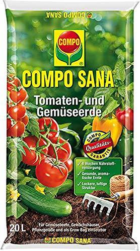 COMPO SANA Tomaten- und Gemüseerde mit 8 Wochen Dünger für alle Gemüsekulturen, Kultursubstrat, 20 Liter, Braun