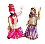 krishnagallery Punjabi Bhangra Polystone Couple Showpiece (8 inch)