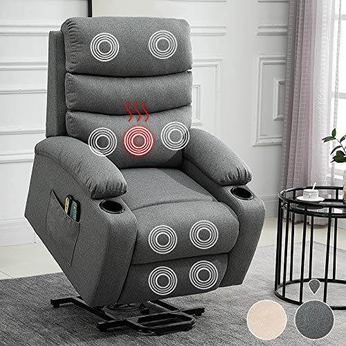 Power Lift Recliner Chair for Elderly Heated Vibration Massage Sofa Electric Motorized Living Room Chair Remote Control Ergonomic Lounge Chair Heavy Duty Overstuffed Linen Recliner Sofa (Gray)